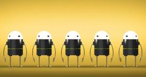 Fileira dos robôs com cabeças de incandescência Fotos de Stock