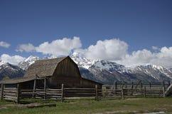 Fileira histórica do mórmon, parque nacional grande de Teton, vale de Jackson Hole, Wyoming, EUA Fotografia de Stock