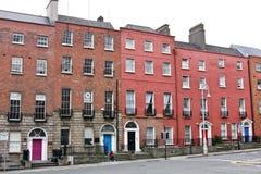 Fileira tradicional de casas vitorianos, Dublin, Irlanda fotografia de stock