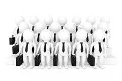 Fileiras 3d do homem de negócios Team Characters rendição 3d Imagens de Stock