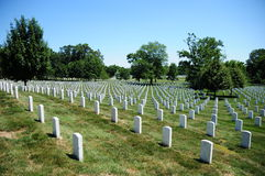 Fileiras da lápide no cemitério nacional de Arlington Fotografia de Stock