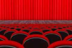 Fileiras de assentos vermelhos do cinema ou do teatro na frente do cinema ou do Theate Fotografia de Stock