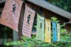 Fileiras de bandeiras velhas com hieróglifos chineses fotos de stock