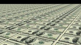 Fileiras de cem notas de dólar fotografia de stock