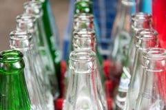 Fileiras de garrafas vazias com profundidade da andorinha de campo Imagens de Stock