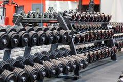 Fileiras de pesos do metal na cremalheira no gym Imagens de Stock