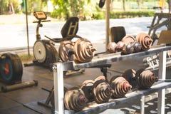 Fileiras de pesos do metal na cremalheira no gym, Foto de Stock Royalty Free