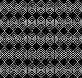 Fileiras de sobrepor quadrados cinzentos no fundo preto Teste padrão sem emenda geométrico elegante Fotos de Stock