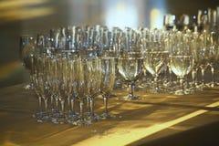 Fileiras delgadas de vidros de cocktail vazios na barra Imagens de Stock