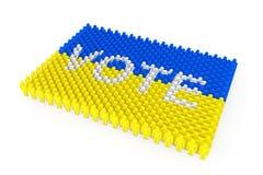 Fileiras do ícone dos povos como a bandeira de Ucrânia e o sinal do voto rendição 3d ilustração do vetor