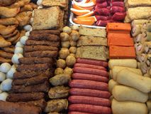 Fileiras do alimento Foto de Stock
