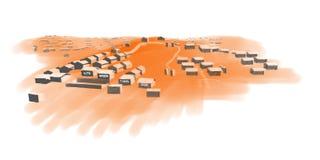 Fileiras do conceito das barracas em um campo de refugiados ilustração royalty free