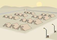 Fileiras do conceito das barracas para o exército ou o campo de refugiados Clipart editável ilustração royalty free