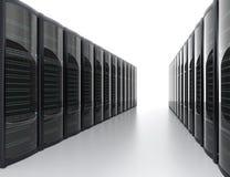 Fileiras do sistema do servidor da lâmina no fundo branco Imagens de Stock Royalty Free