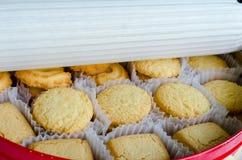 Fileiras dos biscoitos no recipiente Fotos de Stock Royalty Free