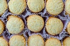 Fileiras dos biscoitos no recipiente Fotografia de Stock