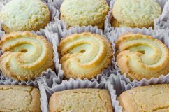 Fileiras dos biscoitos no recipiente Fotos de Stock