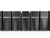 Fileiras dos computadores Fotos de Stock Royalty Free