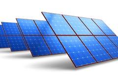 Fileiras dos painéis de bateria solar Imagem de Stock Royalty Free