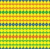 Fileiras vermelhas do verde azul do teste padrão sem emenda das flores Fotos de Stock Royalty Free