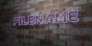 FILENAME - Glowing Neon Sign on stonework wall - 3D rendered royalty free stock illustration Royalty Free Stock Image