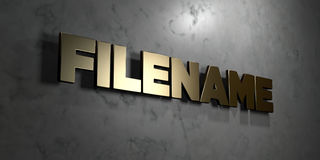 Filename - Gold sign mounted on glossy marble wall  - 3D rendered royalty free stock illustration Stock Images