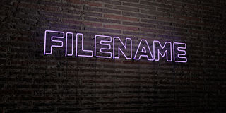 FILENAME -Realistic Neon Sign on Brick Wall background - 3D rendered royalty free stock image Royalty Free Stock Photography