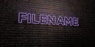 FILENAME - Realistyczny Neonowy znak na ściana z cegieł tle - 3D odpłacający się królewskość bezpłatny akcyjny wizerunek royalty ilustracja