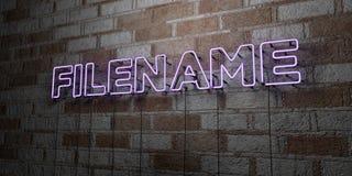 FILENAME - Rozjarzony Neonowy znak na kamieniarki ścianie - 3D odpłacająca się królewskości bezpłatna akcyjna ilustracja ilustracji