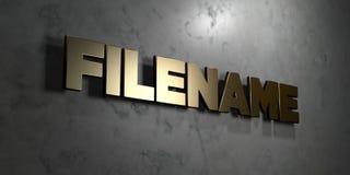 Filename - złoto znak wspinający się na glansowanej marmur ścianie - 3D odpłacająca się królewskości bezpłatna akcyjna ilustracja ilustracja wektor