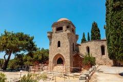 Filerimos修道院在罗得岛 库存图片
