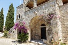 Filerimos修道院在罗得岛 免版税库存图片
