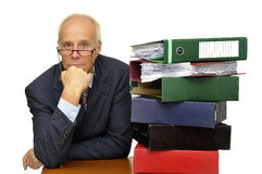 Files!!!. Worker with stack of files isolated in white Royalty Free Stock Images