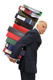 Files!!!. Worker with stack of files isolated in white Stock Photos