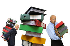 Files!!!. Workers with stack of files isolated in white Stock Photography