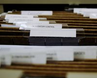 Files. FIling cabinet, assortment of files dividers, file drawer Stock Image