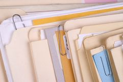 Files. Closeup image of a group of file folders royalty free stock photos