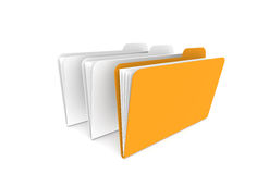Files. One Orange. Isolated on white Royalty Free Stock Images