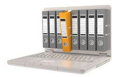 Files. Laptop with Files, one orange Stock Photo