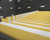 Files. Filing cabinet with folders in drawer Royalty Free Stock Image