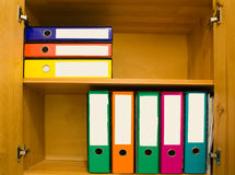 Files. Colorful files with blank label in closet Royalty Free Stock Images