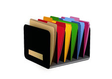 Files. Box with colored paper files Stock Image