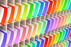 Files Archive. 3D illustration of folders and documents organized and archived, arrayed in shelves Stock Photos