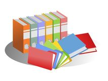 Files and books. An illustration of colorful files and books Royalty Free Stock Photography
