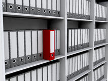 Files on bookshelves Stock Images