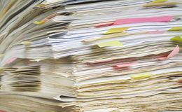 Files close up. In office folder Royalty Free Stock Photo