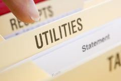Files Containing Utility Bills. Close Up Of Files Containing Utility Bills Royalty Free Stock Photos
