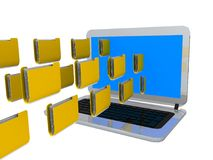 Files data traffic laptop transfer - 3d rendering. E Stock Image