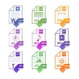 Files of different formats. Icon set. Flat design. File extension icons Royalty Free Stock Images