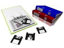Files and disks. Illustration of binders and floppy disk files Stock Images